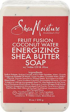 Cleanse and energize dry, dull skin with SheaMoistures Fruit Fusion bar soap…