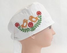 Cotton Linnen Embroidered Face Mask Washable by MirkaMajernikCo Folk, Etsy Seller, Beanie, Medical, Cap, Unique, Creative, Cotton, Fashion