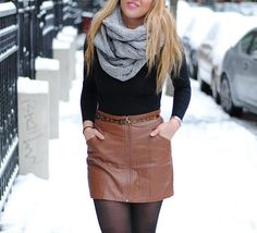 H&M leather skirt | American Apparel circle scarf & scoop back top | leopard belt