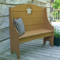 Prim Mustard Bench...with a cut out | http://kitchendesignsaz.blogspot.com