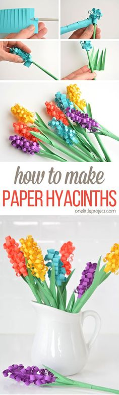 These paper hyacinth flowers are easy to put together and make a gorgeous DIY bouquet! Such a fun spring craft idea!  Here's what you'll need:  Assorted colours of cardstock (Not too thick. Mine was 65 lbs, but thinner paper will work too) Green construction paper (It needs to be thin) Scissors Ruler Pencil Glue Stick Knitting Needle (optional)
