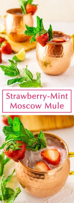 Who loves an easy strawberry cocktail? This strawberry mint Moscow mule is just for you! This simple cocktail recipe couldn't be easier to prepare, and this strawberry Moscow mule takes just a few minutes to prepare. It's the perfect party cocktail for those spring and summer parties. #strawberrymintmoscowmule #strawberrymoscowmule #strawberrymulerecipe #strawberrycocktailvodka #strawberrycocktailrecipe Best Cocktail Recipes, Easy Cocktails, Vodka Cocktails, Summer Cocktails, Drinks Alcohol Recipes, Yummy Drinks, Cold Drinks, Beverages, Mix Drinks