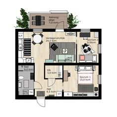 BoKlok build blocks of flats and terraced houses for you who long for a new home, but still want to have money left at the end of the month. Minimalist House Design, Minimalist Home, Small Space Living, Small Spaces, Flat Plan, Small House Plans, House Layouts, Small Apartments, Home Projects