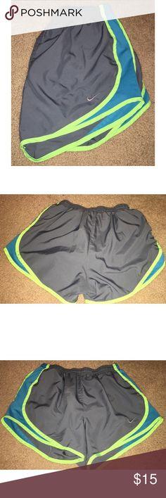 NIKE Gray, Blue & Green Running Shorts! Nike gray, blue & green running shorts! Barely worn & in great condition! Very comfortable! Nike Shorts