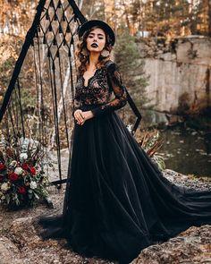 24 Gothic Wedding Dresses: Challenging Traditions ❤ gothic wedding dresses a line lace top with sleeves stylishbrideaccs #weddingforward #wedding #bride #weddingoutfit #bridaloutfit #weddinggown