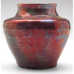 "Pewabic vase red and green metallic glaze. Good Pewabic vase, bulbous and shouldered shape covered in a red and green metallic glaze, marked, paper label, 3.5""w x 3""h"