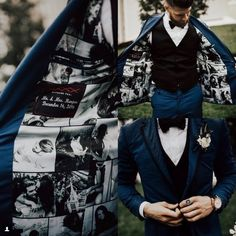 Washington Nationals player Bryce Harper lined his wedding jacket with photos of his wife!  StitchedLife // India Earl Photography