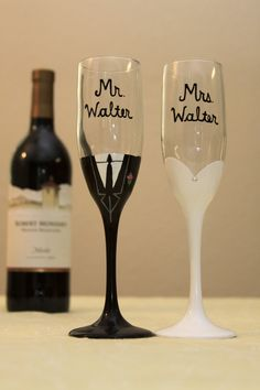 Mr and Mrs Personalized Champagne Flutes by ArtsyAsh101 on Etsy, $25.00