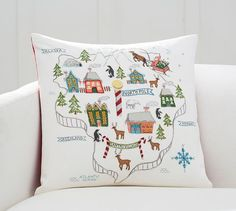 North Pole Map Embroidered Pillow Cover Pottery Barn Large Pillows