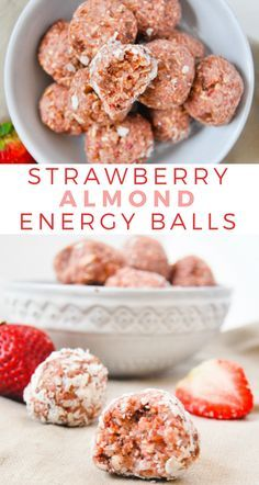 These strawberry almond energy balls are jam packed with healthy ingredients, and they only take 5 ingredients and 5 minutes to make. snacks No Bake Strawberry Almond Energy Balls Desserts Végétaliens, Whole Food Desserts, Whole Food Recipes, Dessert Recipes, Recipes Dinner, Indian Desserts, Indian Snacks, Sweet Desserts, Plated Desserts