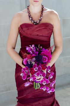 Burgundy & White Wedding with a Red Dress in San Fran on Borrowed & Blue.  Photo Credit: Vivian Chen Photography