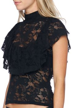 The Flouncy Lace Top - LIMITED (AU $80AUD) by BlackMilk Clothing
