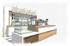 Coffee bar sketchup. Like the style of this