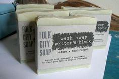 etsy.com ~ Folk City Soap: Wash Away Writer's Block Blend (vegan, all natural) One Bar ~ $7.50