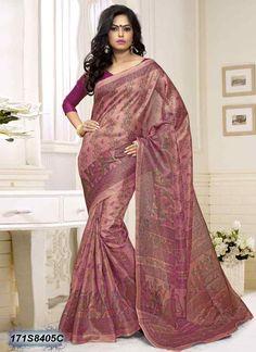 Ambitious Peach Coloured Cotton Silk Saree