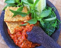 "my favorite.my a very spicy sauce we call ""sambal"" Healthy Asian Recipes, Vegetarian Recipes, Asian Foods, Easy Recipes, Nasi Bakar, Root Recipe, Indonesian Cuisine, Indonesian Recipes"