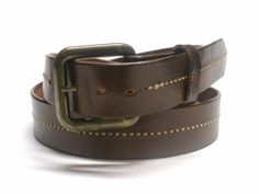 Mahogany Brown Leather Belt Men Leather Belt by BirdhouseDesigns on Etsy, $65.00