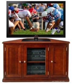"""Personalize this Solid Maple 50"""" Corner Media TV Stand in Prairie Finish"""