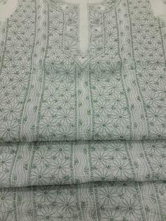 Exclusive Lucknow Chikan White & Green Cotton Suit Length with very fine chikankari murri, shadow, jaali work with contrast bottom & pure chiffon dupatta #chikankari $55.50