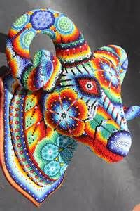 Fell in love with Huichol art after my vacation in Sayulita, Nayarit Mexican Style, Mexican Folk Art, Yarn Painting, Art Textile, Animal Heads, Bead Art, Beads, Crochet, Cow Skull