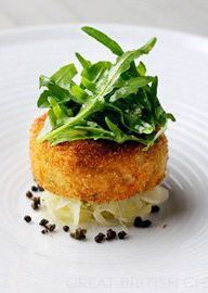 Salmon fish cakes with rocket, capers and lime dressing - Chris Horridge - well-flavoured and delicious.