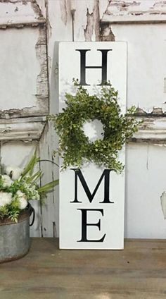 I just love this farmhouse style home sign! - HOME sign with wreath Sign with Wreath Baby Grass Wreath Sign Vertical HOME sign Greenery Wreath Farmhouse Decor #farmhouse #farmhousedecor #homedecor #home #ad