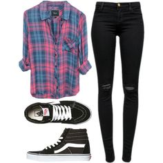 Untitled #471 by helloimweird13 on Polyvore featuring Rails, J Brand and Vans