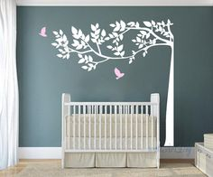 Tree wall decals White and pink tree wall stencils by WallArtDIY