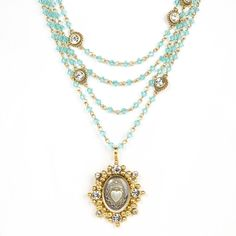 The Magdalena has been a VSA Classic as it is most versatile in style Wear open and long or layered The turquoise beads are reminiscent of sandy white beaches & Carribean oceans -Plated Bronze -Medallion is covered with a resin finish & is detachable - Length 12.5-14.5 inches plus medallion -Toggle Closure - Faceted Bicone crystals beads that add a POP of color -Handmade in San Miguel Allende Crystal Beads, Swarovski Crystals, Turquoise Beads, Turquoise Water, Cross Choker, White Sand Beach, Sacred Heart, Drop Necklace, Color Pop