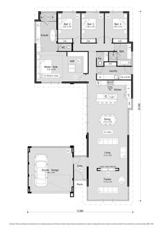 Large sliding doors and fixed glass give this 4 bedroom, 2 bathroom home a unique frontage and let plenty of natural light in. Stretching from the theatre at the front. Modern House Floor Plans, Home Design Floor Plans, New House Plans, Dream House Plans, Small House Plans, Home Office Layouts, House Layouts, Home Office Design, U Shaped House Plans