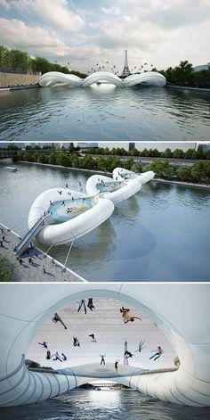Ooohlala!! I wanna bounce across the trampoline bridge over the Siene river in Paris, France!! Oui, weeeeeee!!!!