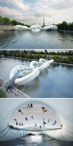 Ooohlala!! I wanna bounce across the trampoline bridge over the Siene river in Paris, France!! Oui, weeeeeee!!!!