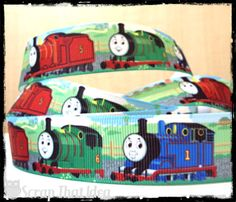 "THOMAS Ribbon. 1"" Grosgrain. Scrapbooking/Craft. Tank Engine. w/ Percy & James 
