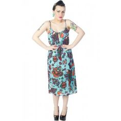 IRON FIST KOKOMOAN KEYHOLE DRESS  Whether your on an island or just day dreamin' of one,Iron Fist has the perfect dress to slip on into this summer. The Kokomoan Keyhole dress features a fun island inspired print of parrots, leopards, hearts, flowers & fruit. Body has a flattering looser fit perfect for those hot summer days along with a keyhole slit in the bodice. Adjustable straps for custom fit.  $60.00