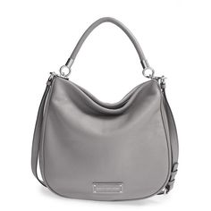 MARC BY MARC JACOBS 'Too Hot to Handle' Hobo (785 ILS) ❤ liked on Polyvore featuring bags, handbags, shoulder bags, storm cloud, hobo purses, leather hobo handbags, hobo handbags, leather hobo purses and anchor purse