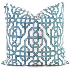 Both sides, Navy blue trellis decorative pillow cover, imperial lattice pillow : Pillows King Size Rustic Decorative Pillows, Decorative Pillow Covers, Throw Pillow Covers, Diy Pillows, Throw Pillows, White Pillows, White Trellis, Trellis Pattern, Pillow Arrangement