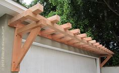 ARbor over GArage to MAtch Craftsman Fence and Driveway Gates - Santa Monica, CA - Modern Design Garage Trellis, Garage Pergola, Patio Roof, White Pergola, Modern Pergola, Outdoor Pergola, Backyard Pergola, Pergola Plans, Pergola Ideas