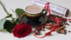 Still life with coffee cup and rose flower Coffee Gif, Coffee Images, Coffee Barista, I Love Coffee, Coffee Break, Best Coffee, My Coffee, Coffee Cups, Good Morning Coffee