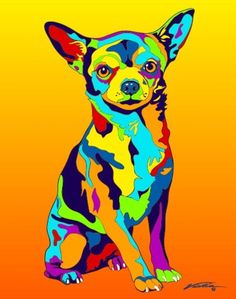 Chihuahua Art by Michael Vistia. Buy dog portraits and dog paintings with Chihuahua art. Dog painting of Chihuahua dog breed. Chihuahua Tattoo, Chihuahua Puppies, Chihuahuas, Funny Puppies, Colorful Animals, Cute Animals, Dog Portraits, Dog Behavior, Animal Paintings