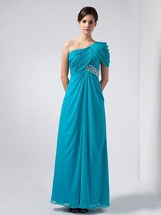 Baby Blue Column One Shoulder Beaded Bridesmaids Dresses in Halway House,low price bridesmaid dress with high quality,hot sale bridesmaid dress online for 2014