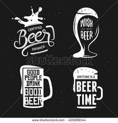 Beer related typography. Vector vintage lettering illustration. Chalkboard design elements for beer pub. Beer advertising. - stock vector