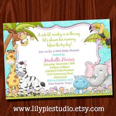 Monkey Jungle Baby Shower Invitation Printable by LilyPieStudio, $14.00