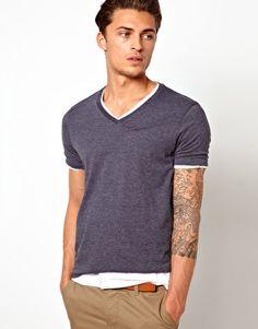 ASOS T-Shirt With V Neck 2 Pack White/Navy