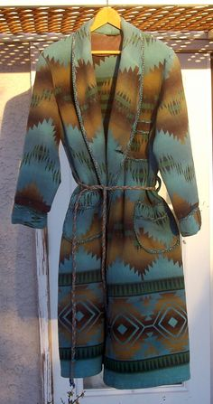 MY Vintage Beacon INDIAN OMBRE Blanket ROBE 1920s Southwestern Sunset.