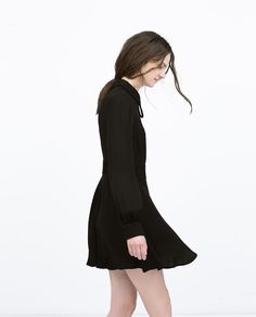 ZARA - WOMAN - FLARED DRESS WITH COLLAR AND BOW