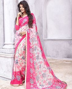 Buy Comely Pink & Off White Casual Sarees online at https://www.a1designerwear.com/comely-pink-off-white-casual-sarees Price: $22.38 USD