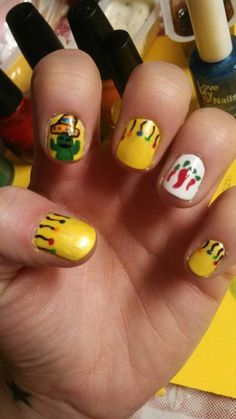 Mardi Gras nails! Chili pepper nail!
