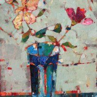 Roses in Morrocan Vase by Sally Anne Fitter