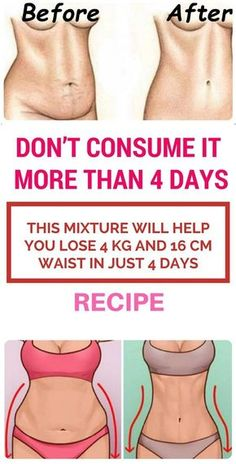 Don't Consume It More Than 4 Days. This Mixture Will Help You Lose 4 kg And 16 cm Waist In Just 4 Days