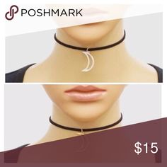 "NEW! Black Suede Choker with Open Crescent Moon. NEW! Black Suede Choker with Open Crescent Moon Gold or Silver. Size 12"" with 4"" extender. No Trades. Price is Firm Unless Bundled. 2 Items 10% Off 3 Items 15% Off. GlamVault Jewelry Necklaces"